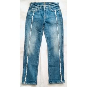 7 For All Mankind Jeans - 7 for All Mankind Frayed Crop Straight Leg Jeans